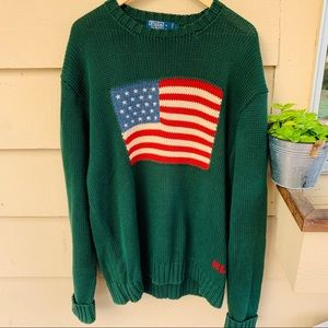 Vintage Ralph Lauren Flag Green Sweater L